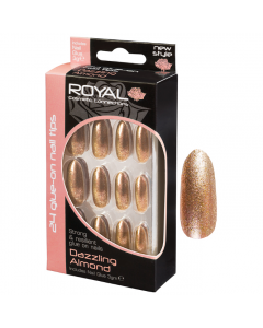 Royal Dazzling Almond Nail Tips Pack Of 6