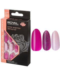 Royal Pink Warrior Almond Nail Tips Pack Of 6